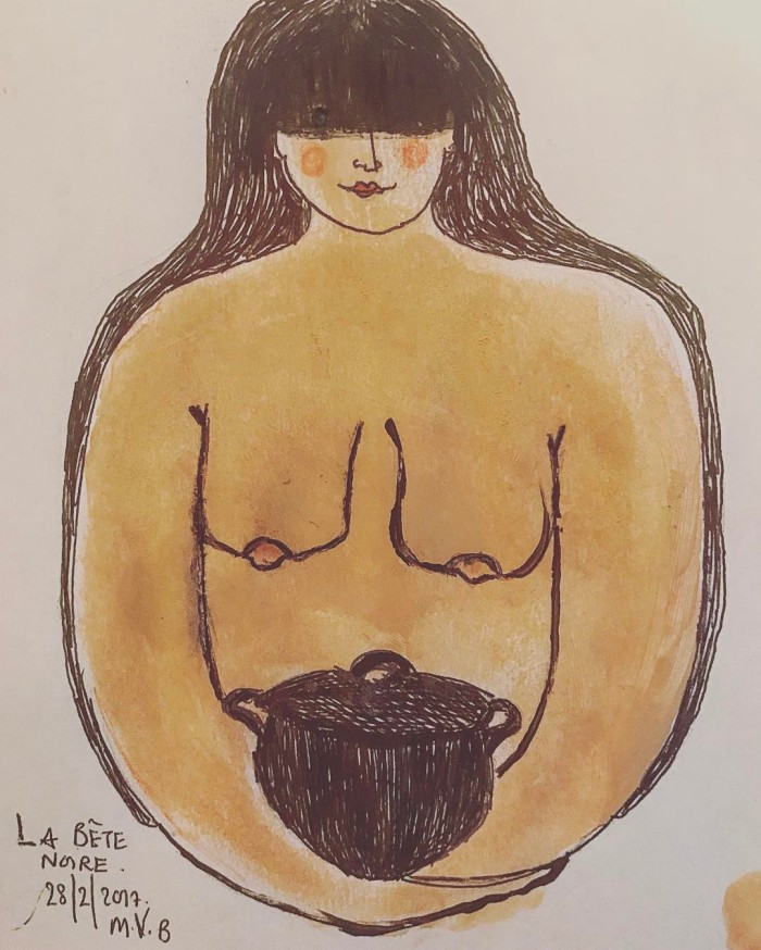 My lady is taking shape. Enjoyed the day in her company, she's shy at first but the most generous of creatures once you get to know her. I especially like the way she looks at you with her left eye from under her hair. #labêtenoire #sketch #logo #ideas #watercolour #illustration #woman #mother #cooking #restaurant #instafollow #instalove #instagood #love #kindness #food #feeding